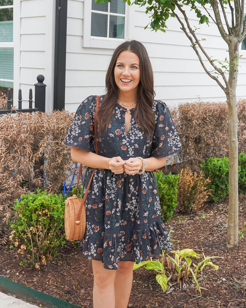 work outfit | floral print mini dress | bead bracelets | Houston Fashion Blogger Lady in Violet