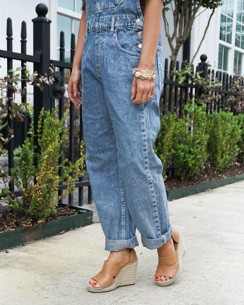 best overalls for petites | brown wedges | stone bangles | American Fashion Blog Lady in Violet