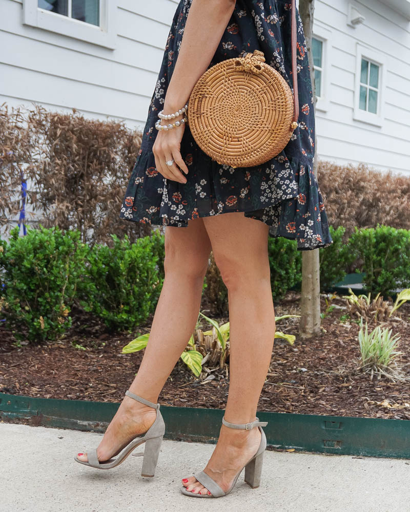 spring fashion | circle straw purse | nuetral colored block heel sandals | american fashion blog Lady in Violet