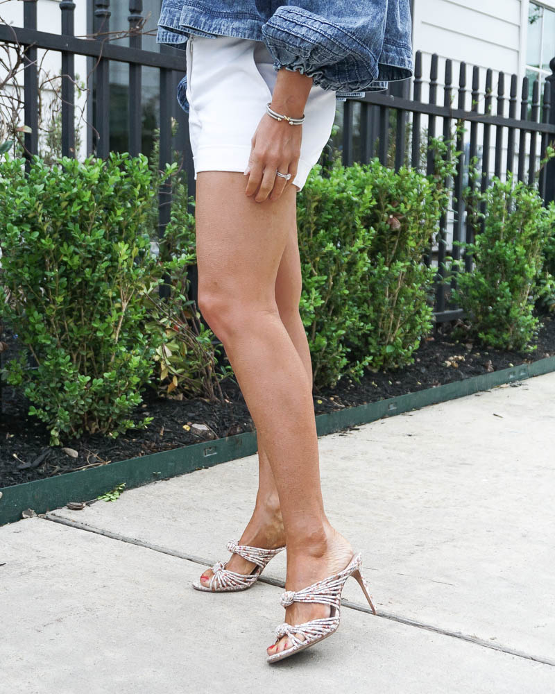 spring outfit | white dress shorts | floral sandals | American Fashion Blog Lady in Violet
