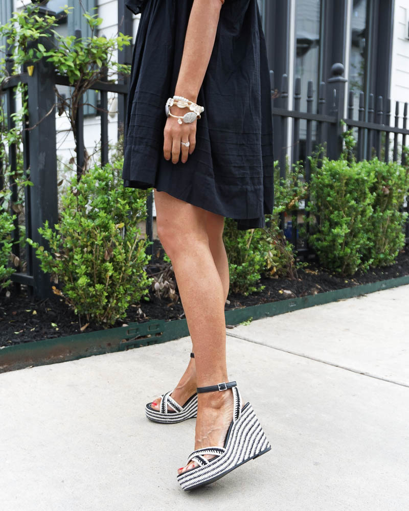summer outfit | striped espadrille wedge sandal | bourbon and bowtie bracelet | Petite Fashion Blogger Lady in Violet