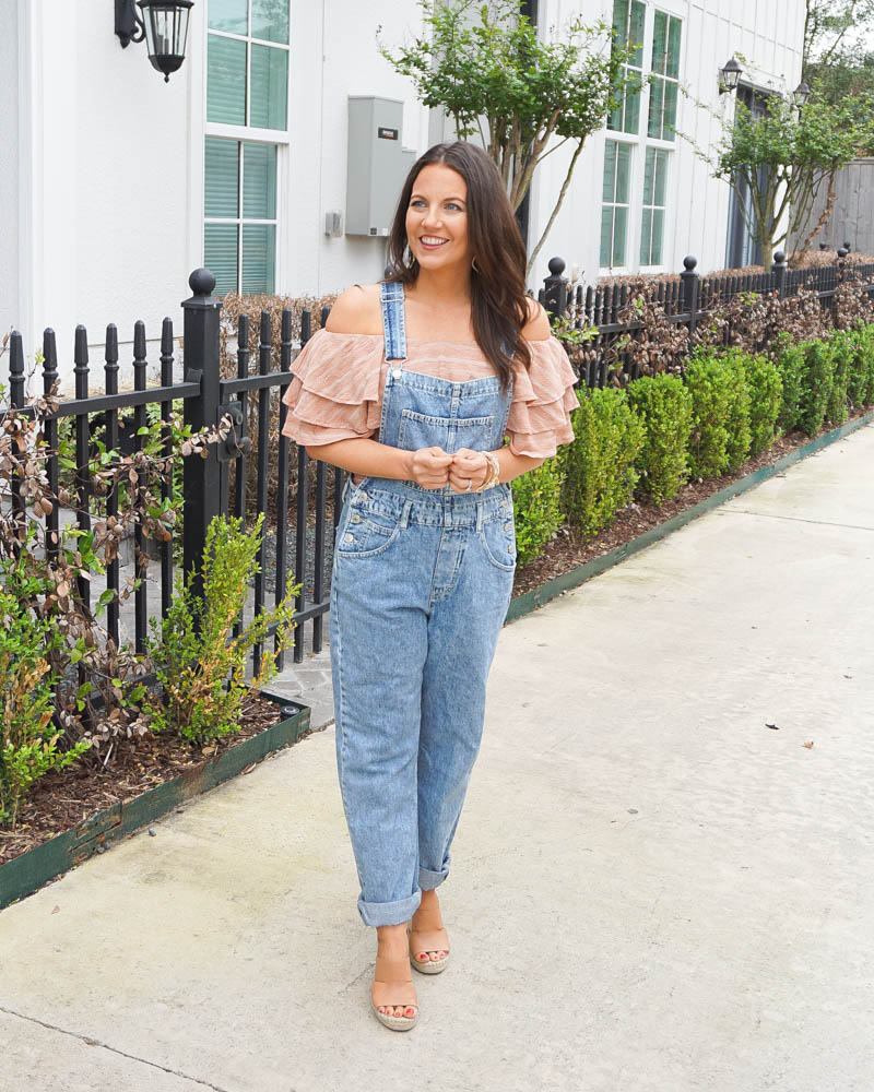 How to wear overalls in spring | casual outfit | ots top | Southern Fashion Blogger Lady in Violet