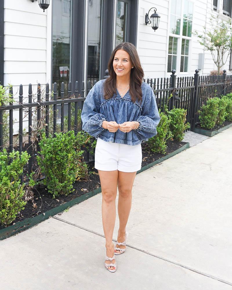 spring fashion | denim crop top | white shorts | Southern Fashion Blogger Lady in Violet