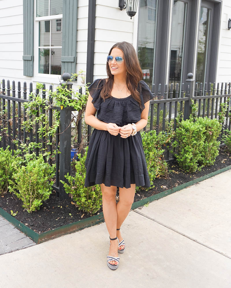 spring outfit | black mini dress | wedge sandals | American Fashion Blog Lady in Violet