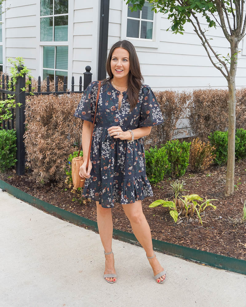 summer fashion   dark floral pring dress   anthropologie dresses   popular us fashion blog