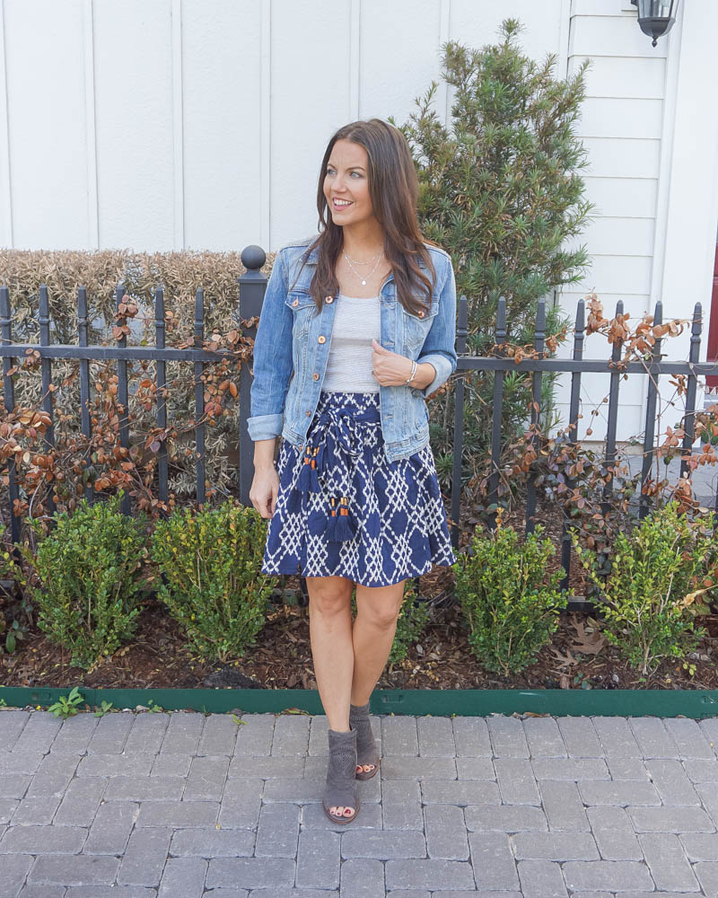 summer outfits | striped tank top | dark blue mini skirt | Top US Fashion Blog Lady in Violet