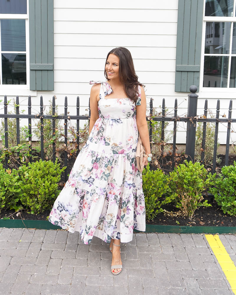 floral maxi dresses under 100   summer outfit   white dress   Petite Fashion Blog Lady in Violet