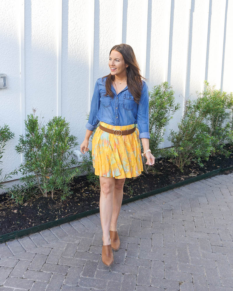 summer outfit | chambray top | yellow mini skirt | Petite fashion blog lady in violet