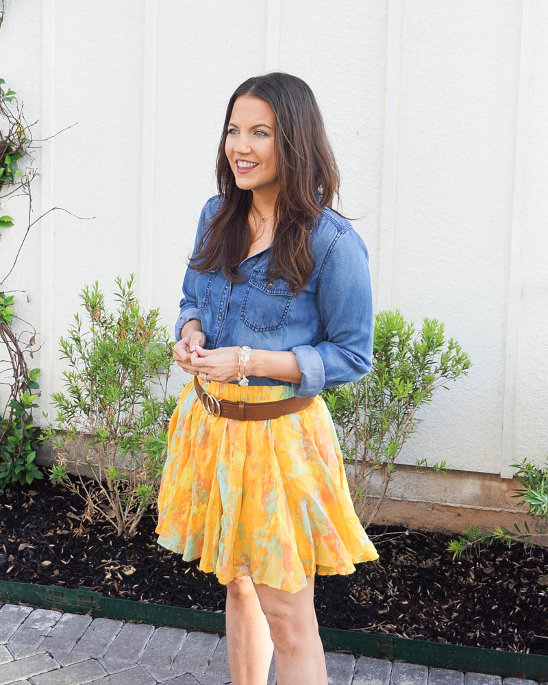 spring outfit | blue chambray blouse | yellow flared skirt | Houston Fashion Blog Lady in Violet