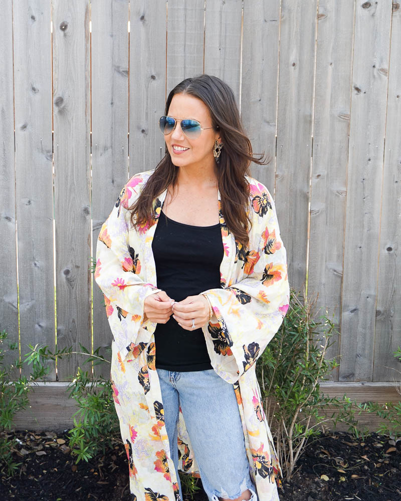 spring outfit   tropical kimono   butterfly earrings   Houston Fashion Blog Lady in Violet
