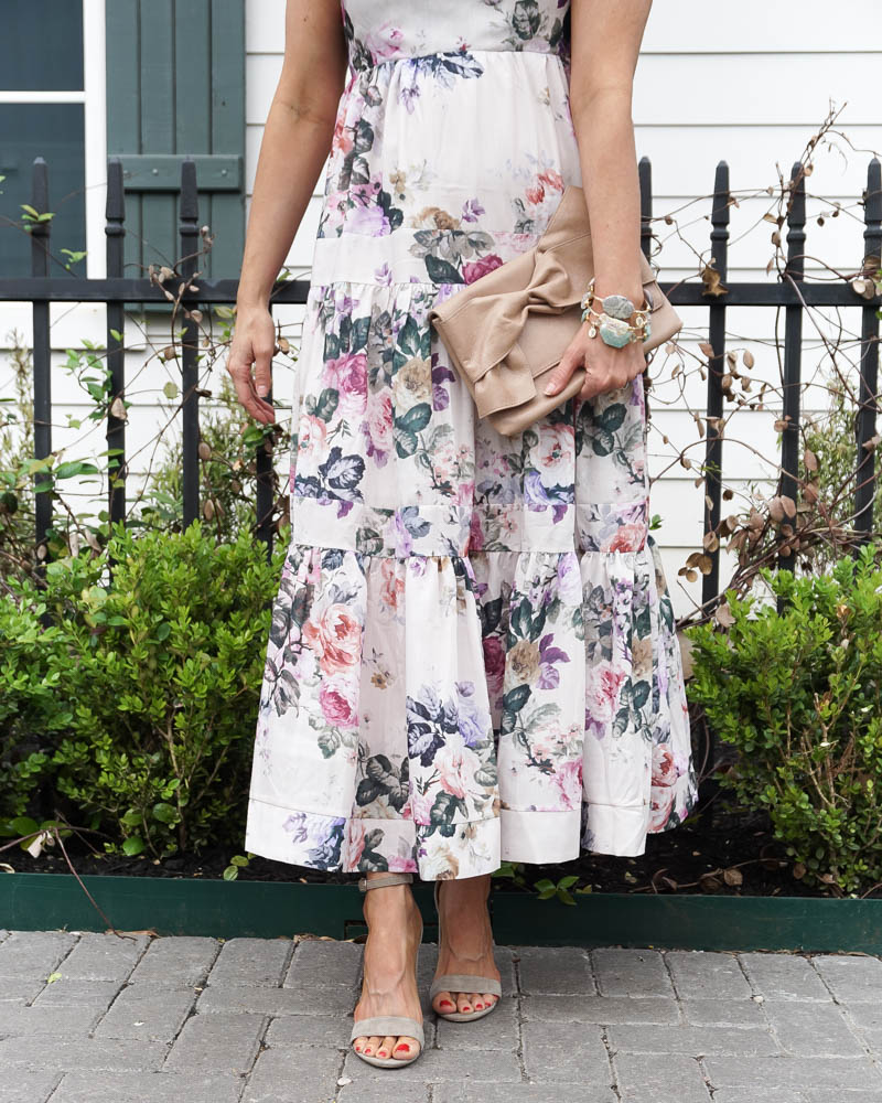 bridal shower outfit   white floral maxi dress   nude colored sandals   Texas Fashion Blog Lady in Violet