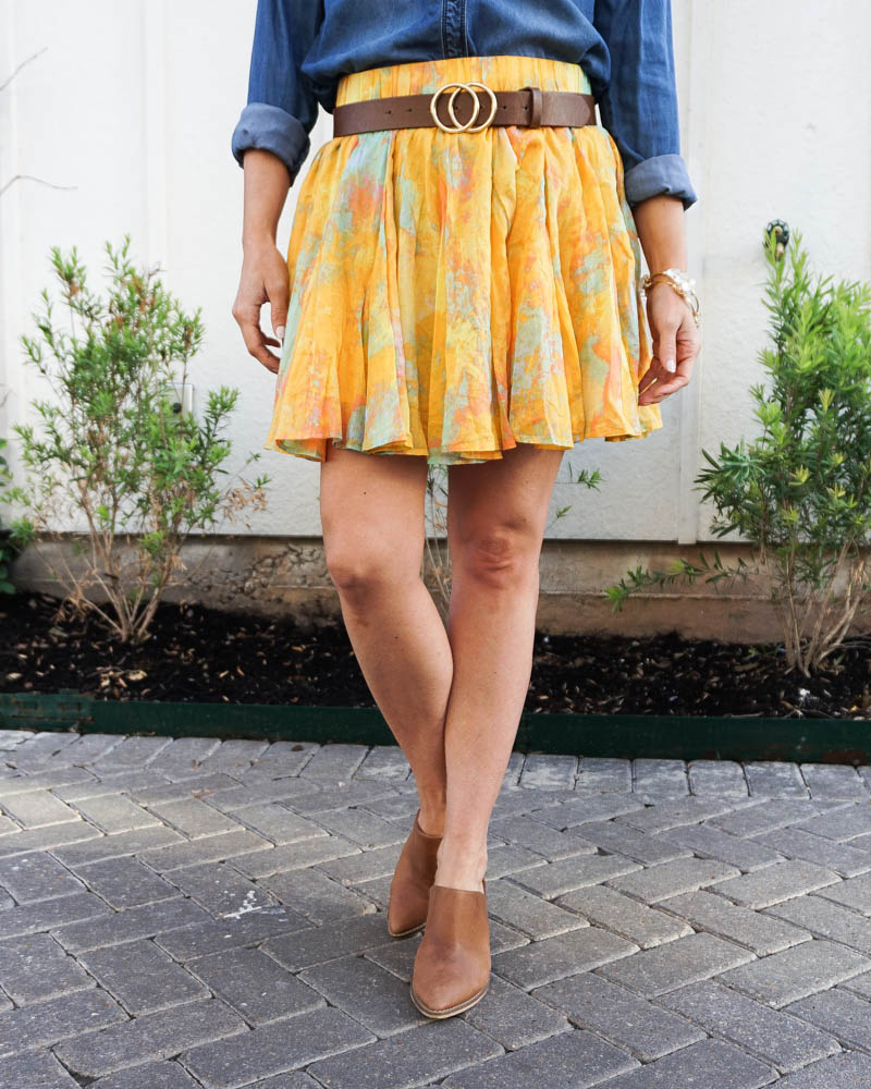 spring fashion | belted yellow mini skirt | brown mules | Texas fashion blog lady in violet