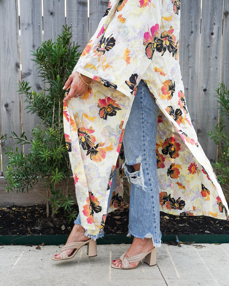 summer outfit   floral print kimono   neutral mules sandals   Texas Fashion Blog Lady in Violet