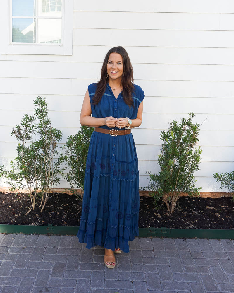 spring dresses | short sleeve blue long dress | casual fashion | Petite fashion blogger lady in violet