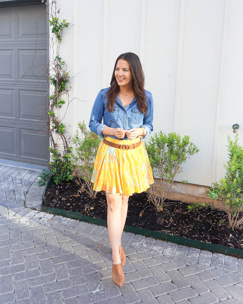 spring outfit | blue jean blouse | yellow flared skirt | Houston fashion blogger lady in violet