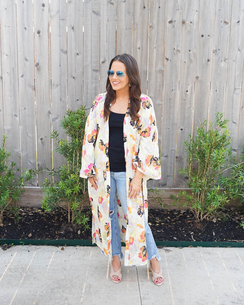 summer outfit   yellow pink floral duster   distressed flare jeans   Houston fashion blogger Lady in Violet