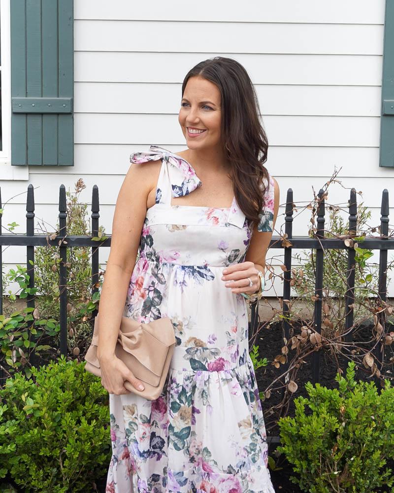 summer dress   tie strap floral dress   stone bracelets   Houston Fashion Blogger Lady in Violet