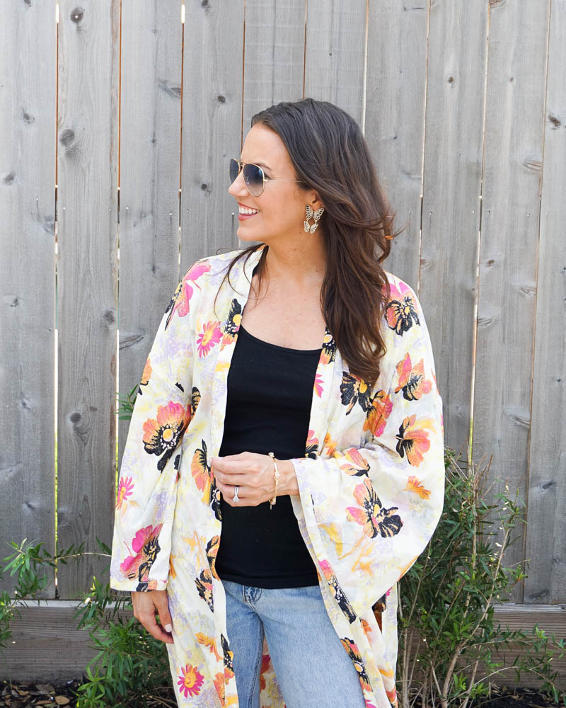 summer outfit   butterfly earrings   free people floral kimono   Texas Fashion Blogger Lady in Violet