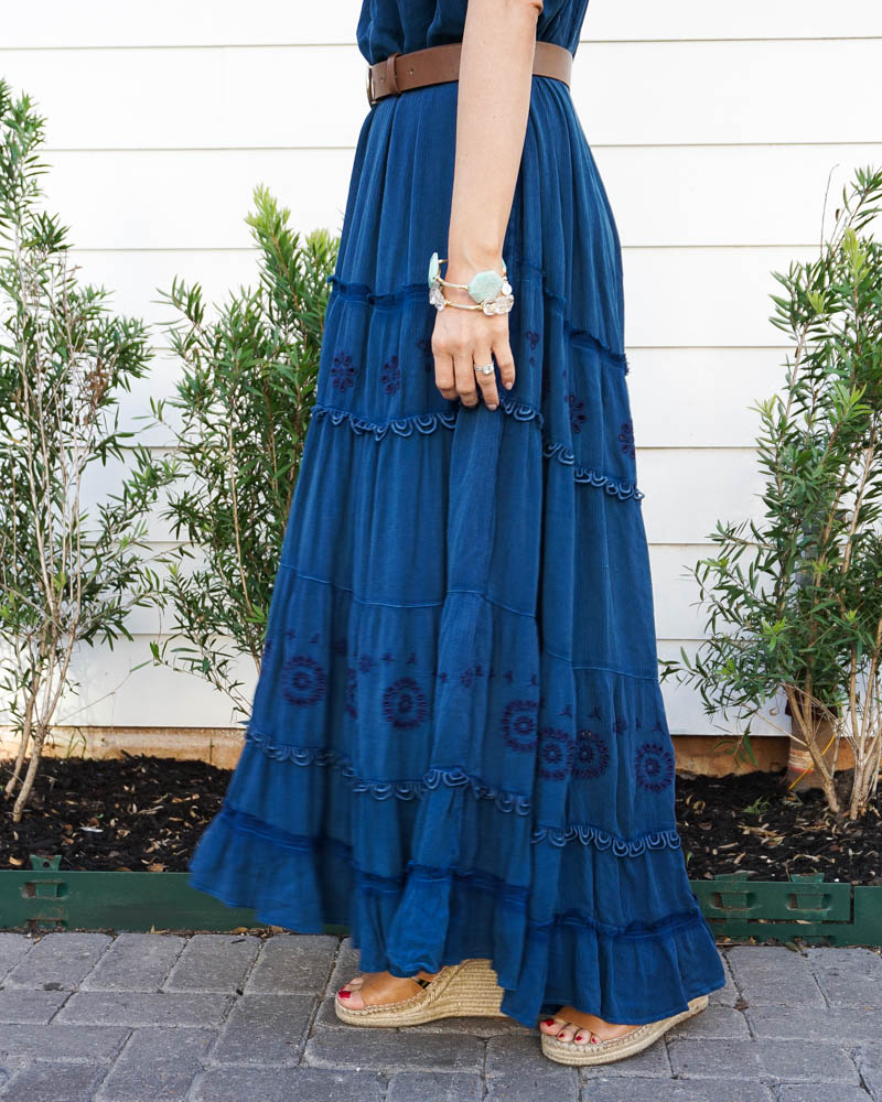spring outfit | long blue maxi dress | stone bracelets | American fashion blog lady in violet