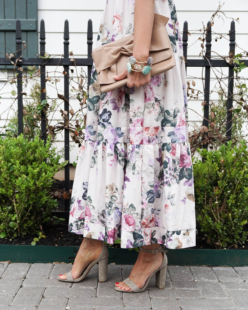 summer outfit   white maxi dress   nude colored sandals   American FAshion Blogger Lady in Violet