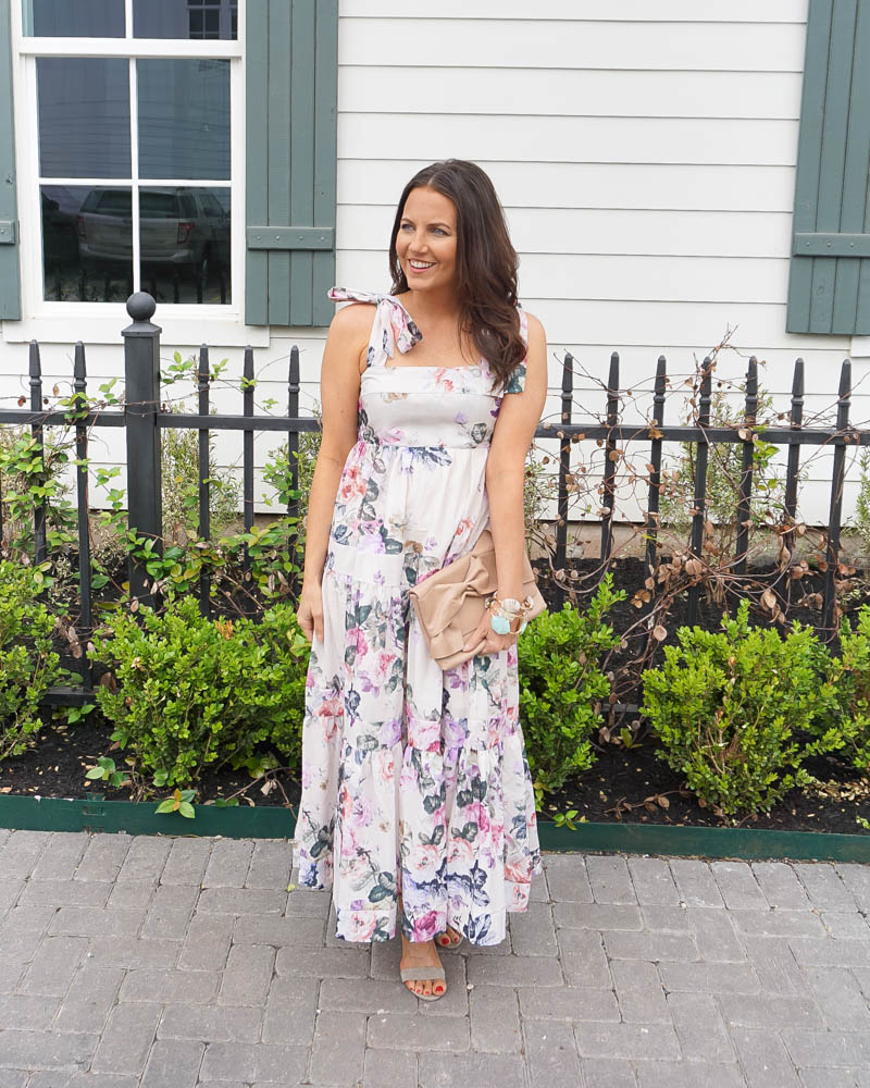maxi dress for petite women   floral print dresses under 100   summer fashion   Southern Fashion Blogger Lady in Violet