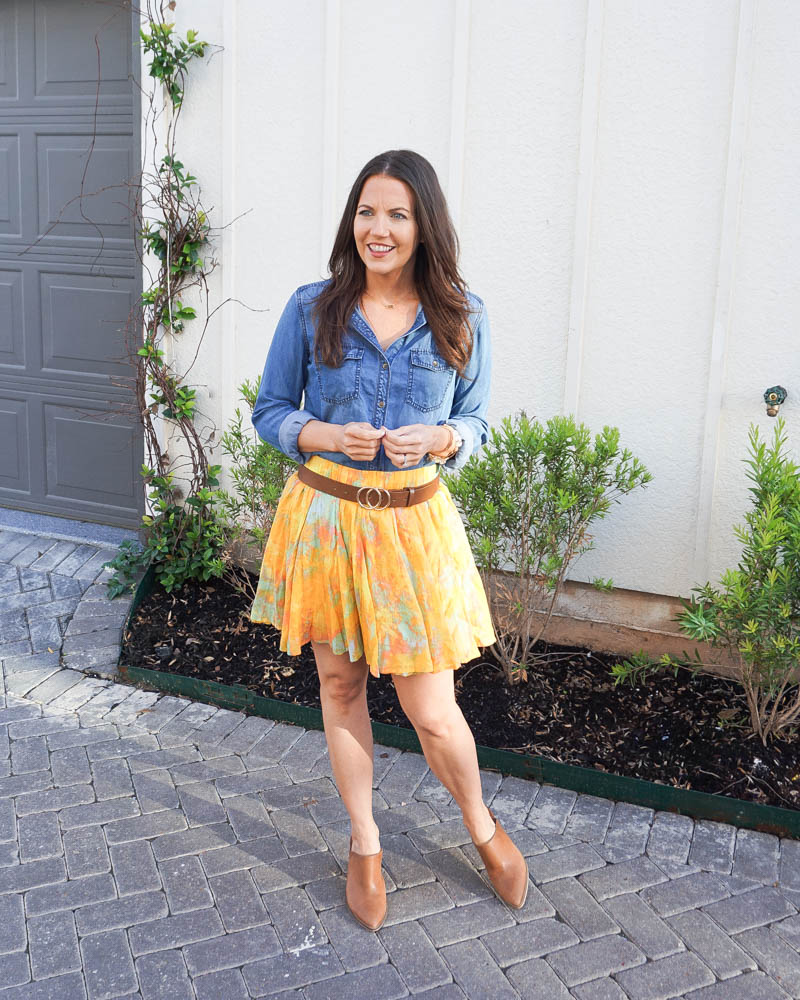 summer fashion | bright yellow skirt | blue denim blouse | southern fashion blog lady in violet