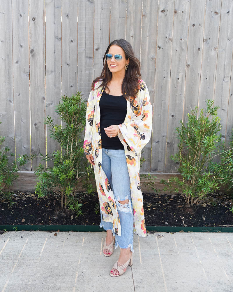 summer fashion   long floral print kimono   cropped flare jeans for short height   American Fashion Blog Lady in Violet