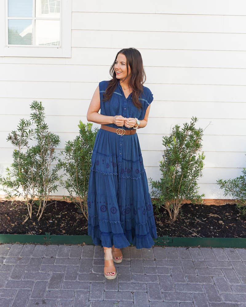 summer outfit | blue maxi dress | brown belt | southern fashion blogger lady in violet