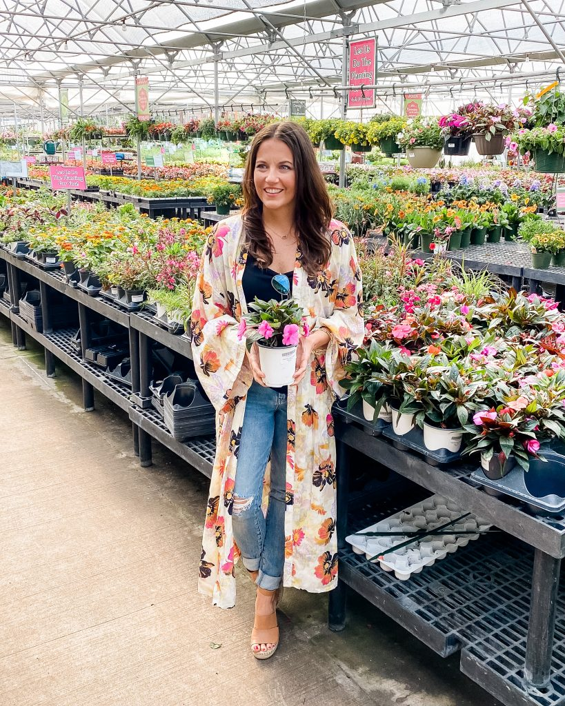 spring outfits | floral print kimono | distressed jeans | Houston Fashion Blog Lady in Violet