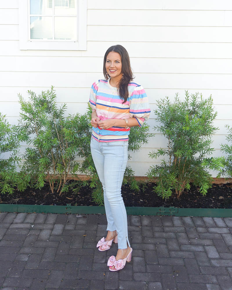 summer outfit | pink striped cardigan | light blue skinny jeans | Petite Fashion Blog Lady in Violet