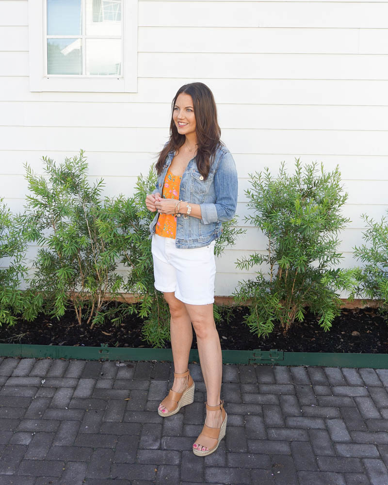 summer outfit | white jeans shorts | orange floral cami top | Houston Fashion Blog Lady in violet