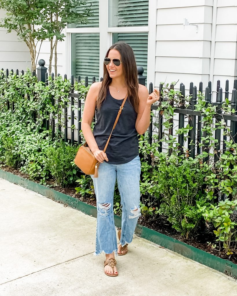 summer outfits | dark gray tank top | frayed hem jeans for petite | Texas Fashion Blog Lady in Violet
