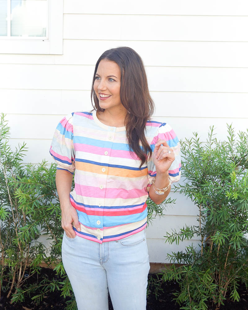 summer outfits | pink striped top | light wash skinny jeans | Houston Fashion Blog Lady in Violet