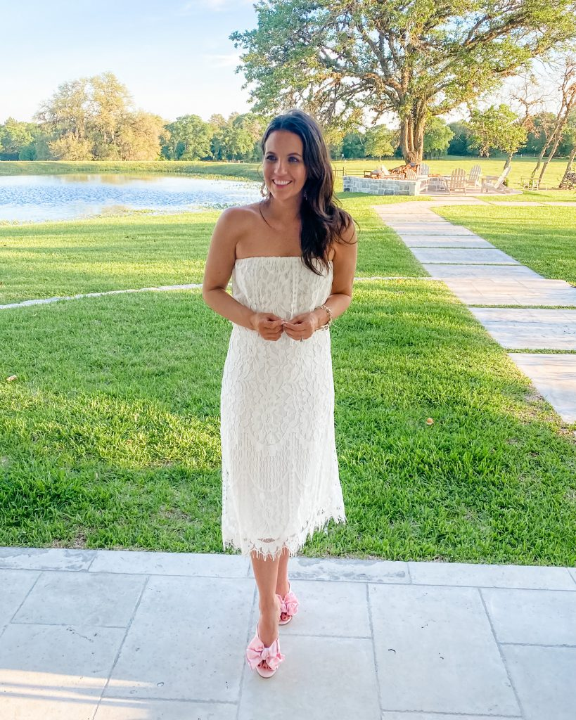 bridal shower outfit | white lace dress | pink sandals | petite fashion blog Lady in Violet