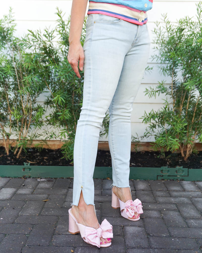 spring outfits | pink bow sandals | frayed hem jeans | Texas Fashion Blog Lady in Violet