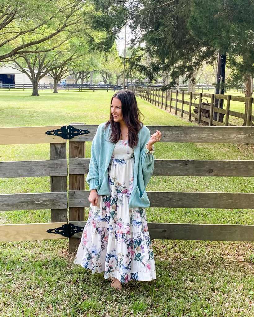 spring outfit | floral maxi dress | light blue cardigan | Houston Fashion Blogger Lady in Violet