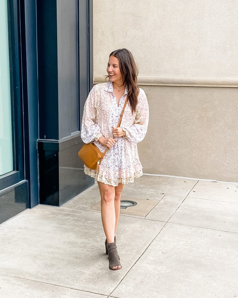 summer outfit | floral print tunic dress | booties | Texas Fashion Blogger Lady in Violet