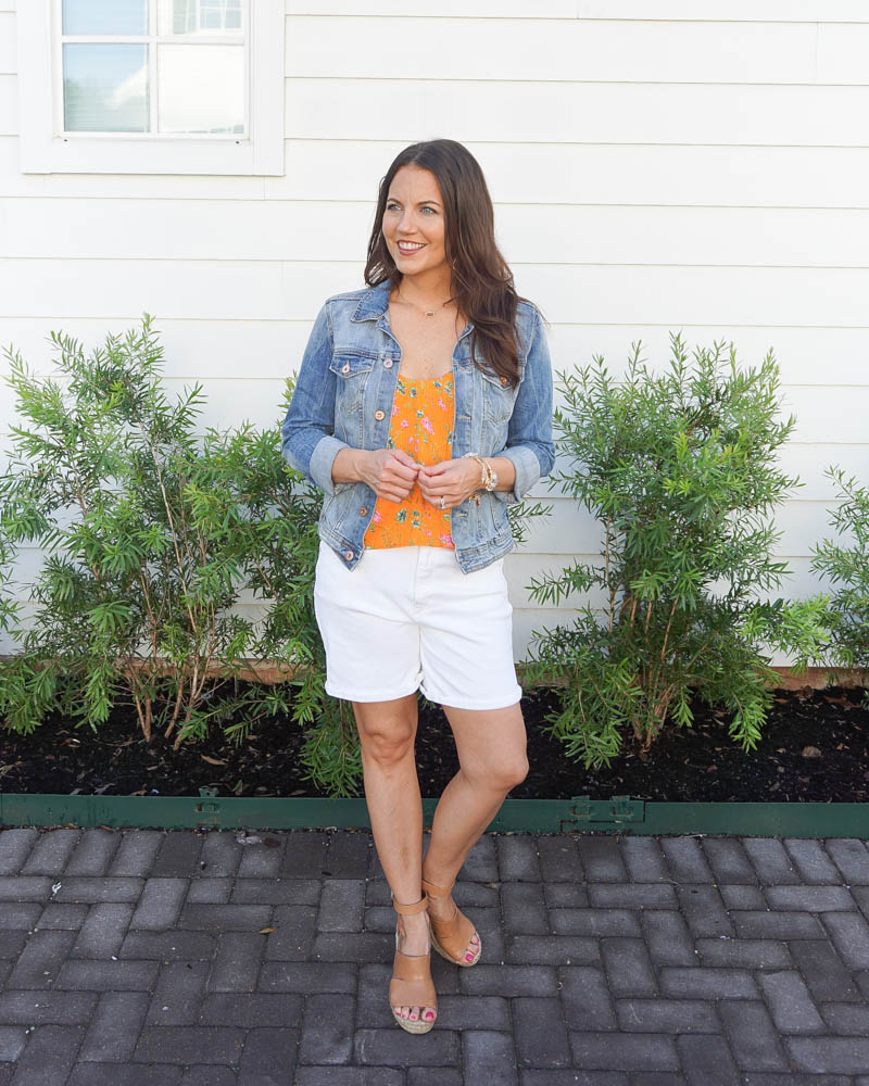 summer outfit | white jean shorts | denim jacket | Texas Fashion Blog Lady in Violet