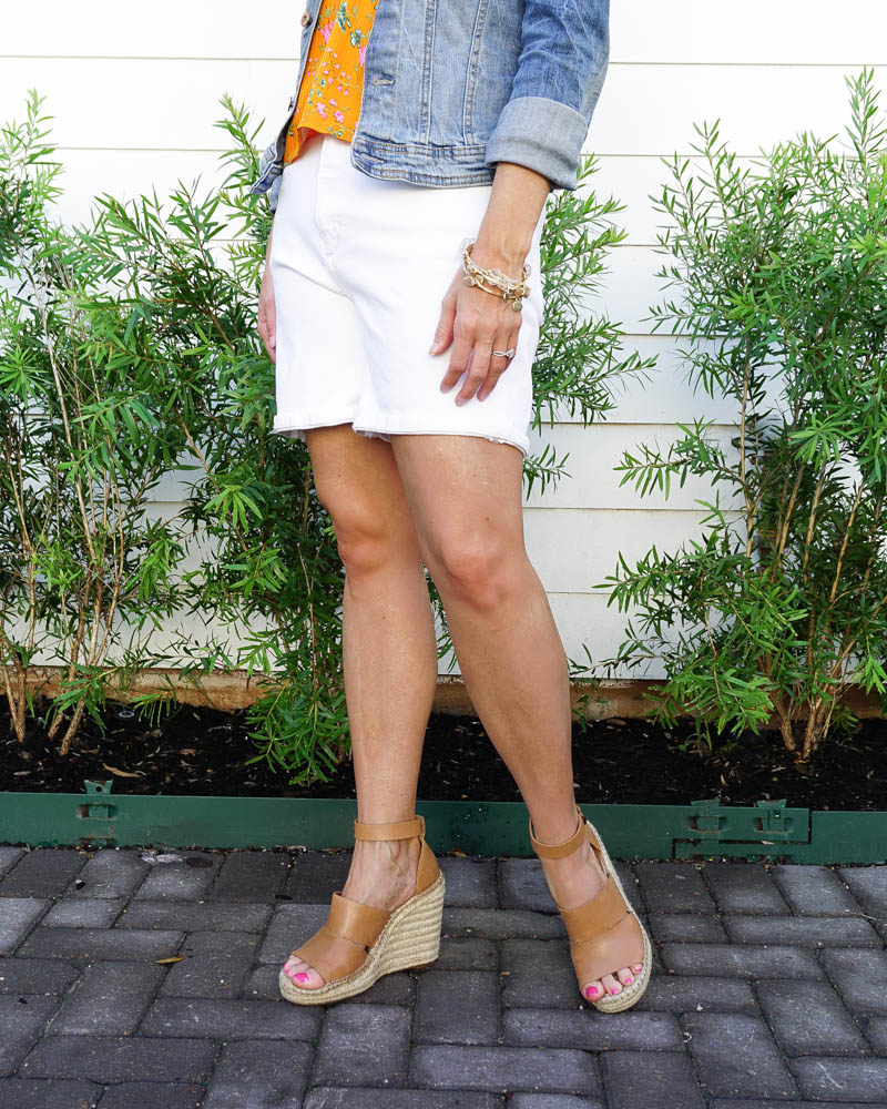 summer fashion | white jean shorts outfit | wedge sandals | Southern Fashion Blogger Lady in Violet