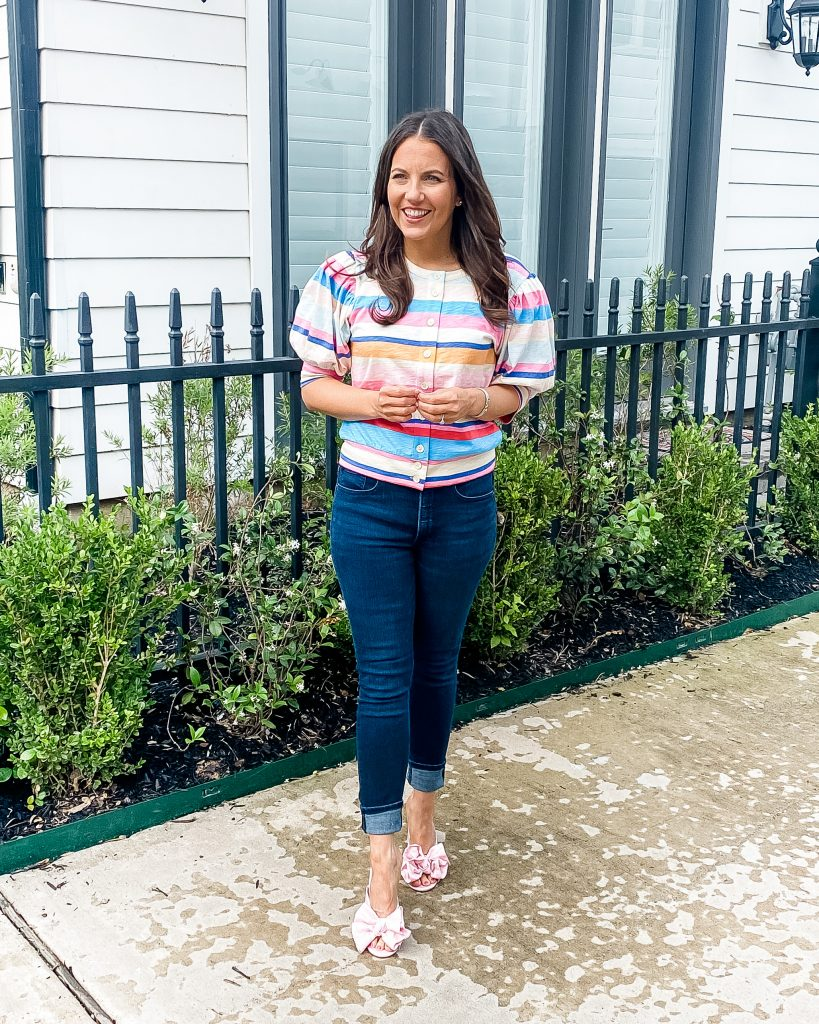 summer outfit | pink blue striped puff sleeve top | pink sandals | Petite Fashion Blogger Lady in Violet