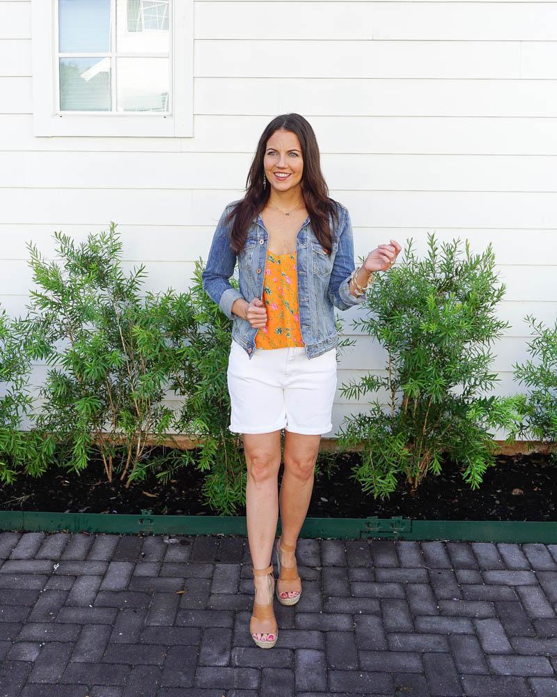 petite fashion | white denim shorts outfits | jean jacket | American Fashion Blog Lady in Violet