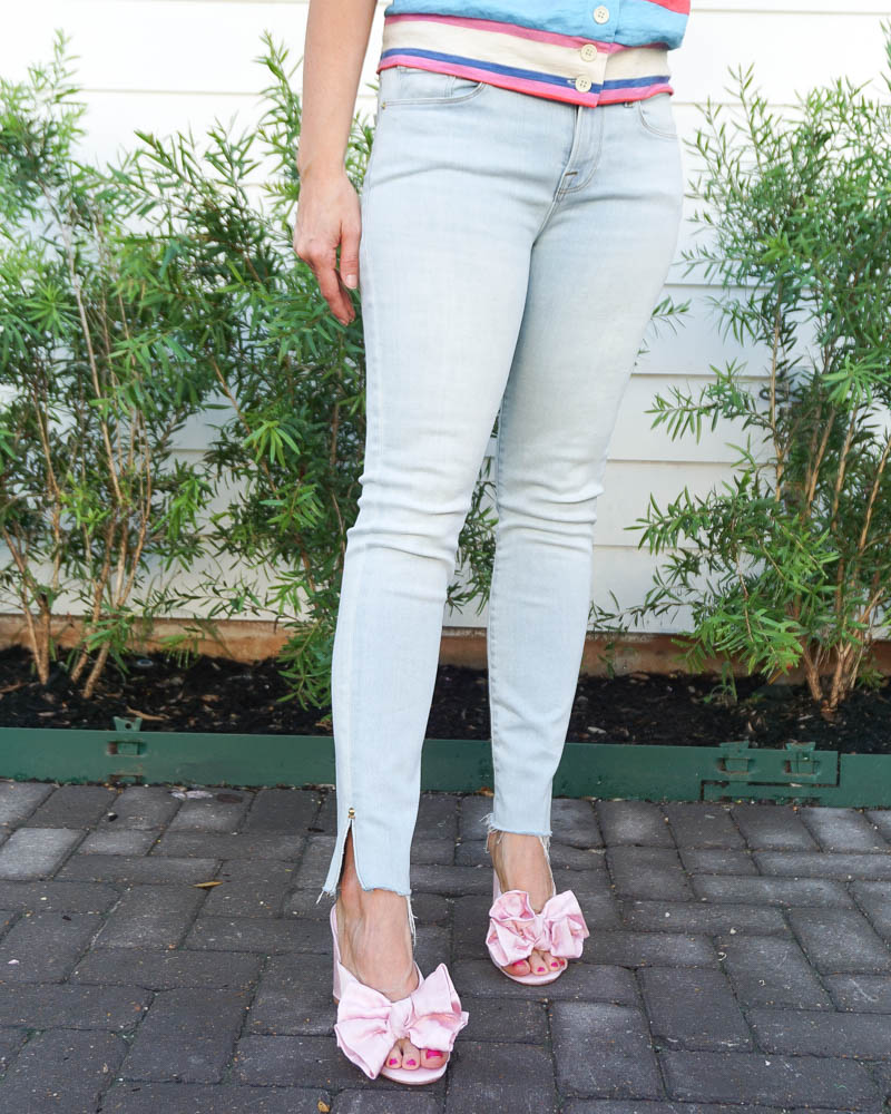 summer fashion | pink bow sandals with heel | light blue frayed hem denim | Southern Fashion Blog Lady in Violet