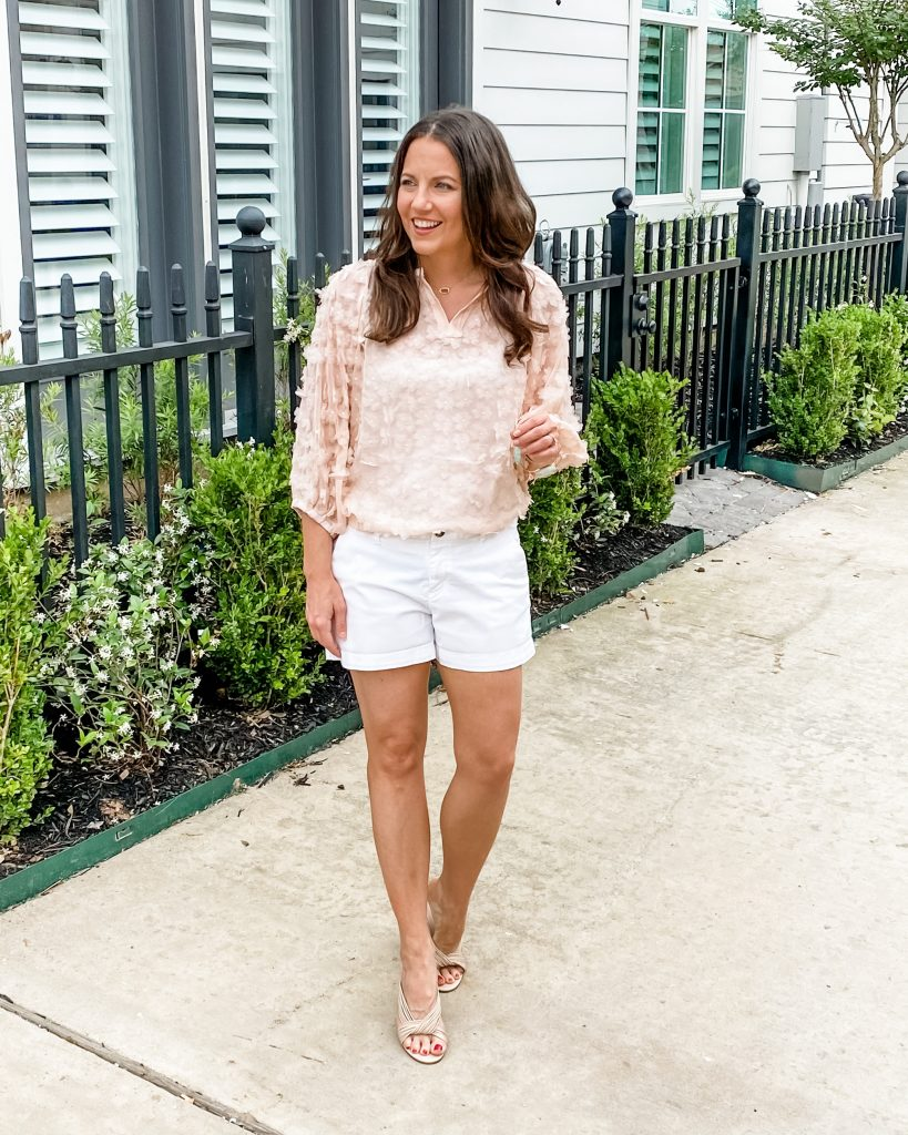 summer outfit | light pink top | white shorts | American Fashion Blogger Lady in Violet
