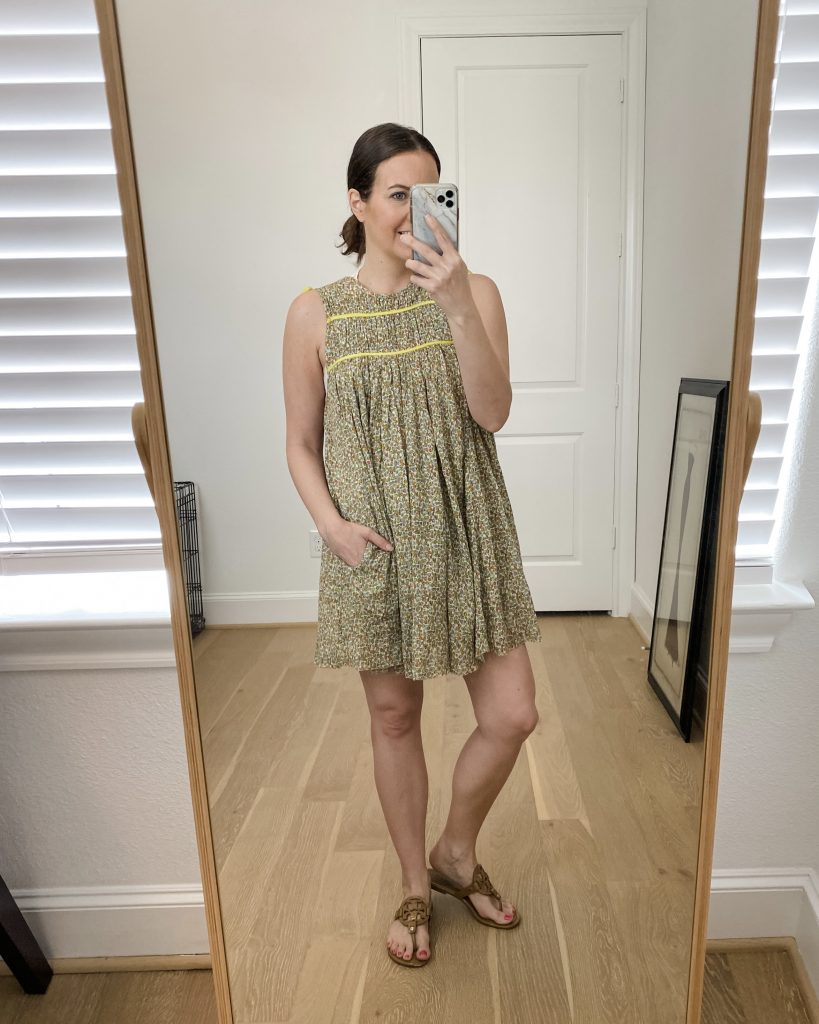 summer outfit | yellow mini dress | southern style blogger lady in violet
