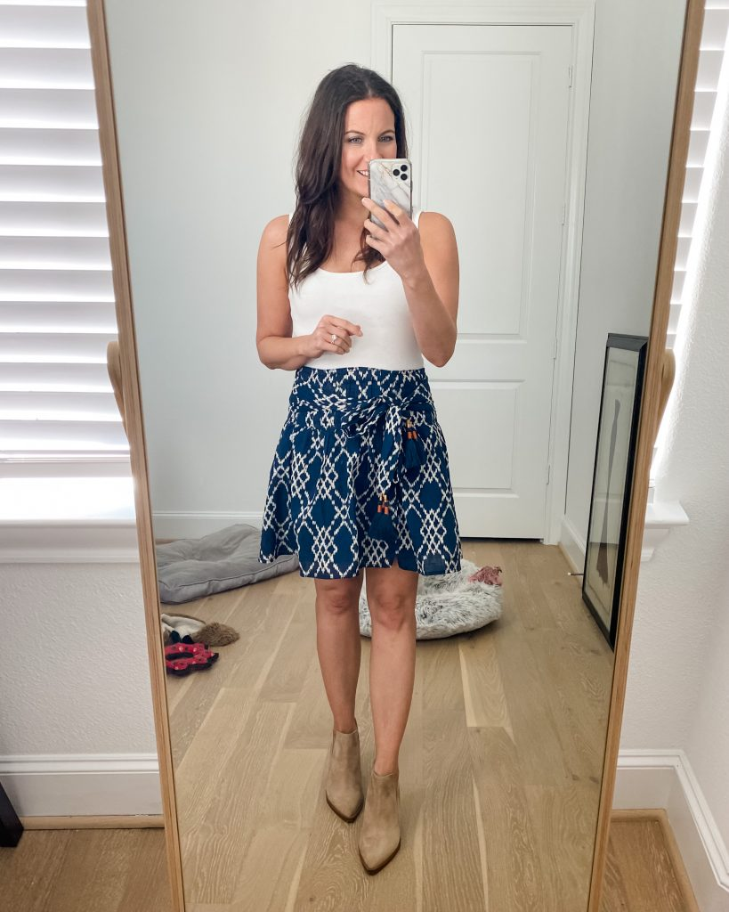 spring outfit | blue mini skirt with booties | Southern Fashion Blogger Lady in Violet