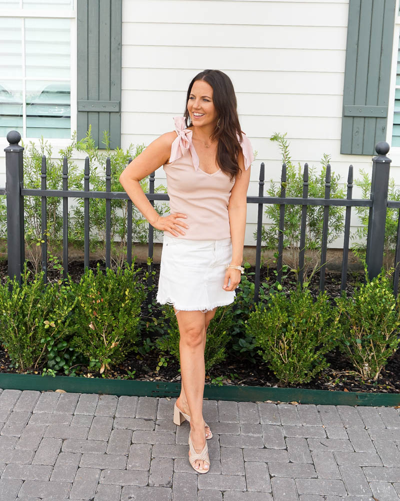 summer outfit | pink bow shoulder tank top | white jean skirt | Houston Fashion Blog Lady in Violet