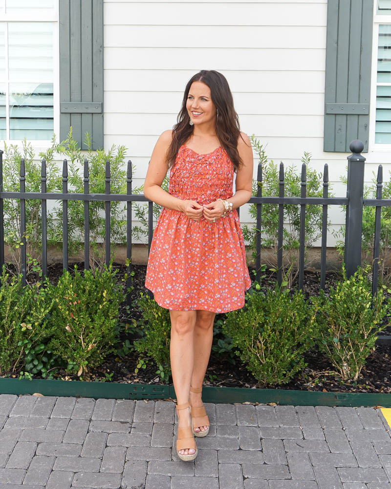 summer outfit | red mini dress | brown wedge sandals | Petite Fashion Blog Lady in Violet