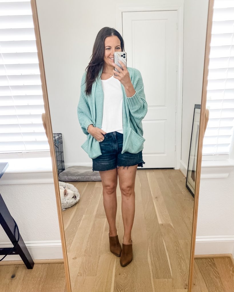 summer outfits | light blue cardigan | black jean shorts | Texas Fashion Blog Lady in Violet
