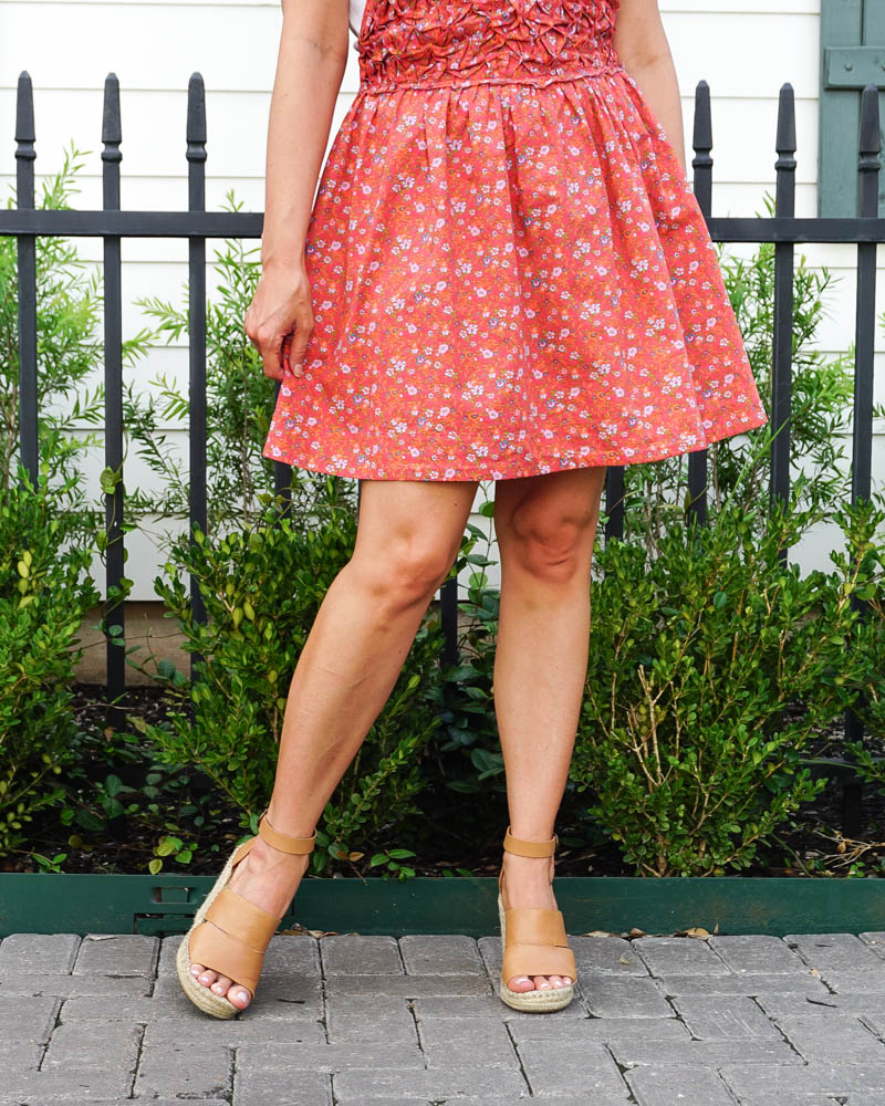 spring outfit | red mini floral mini dress | espadrille wedge sandals | Texas Fashion Blog Lady in Violet