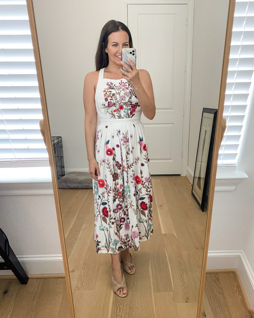 bridal shower outfit | white floral embroidered dress | light colored sandals | Houston Fashion Blogger Lady in Violet